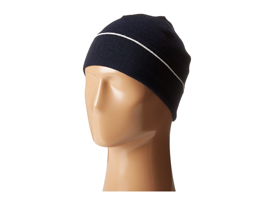 Lacoste - Wool Knit Cap with Tonal Croc (Navy Blue/Cake Flour White) Knit Hats