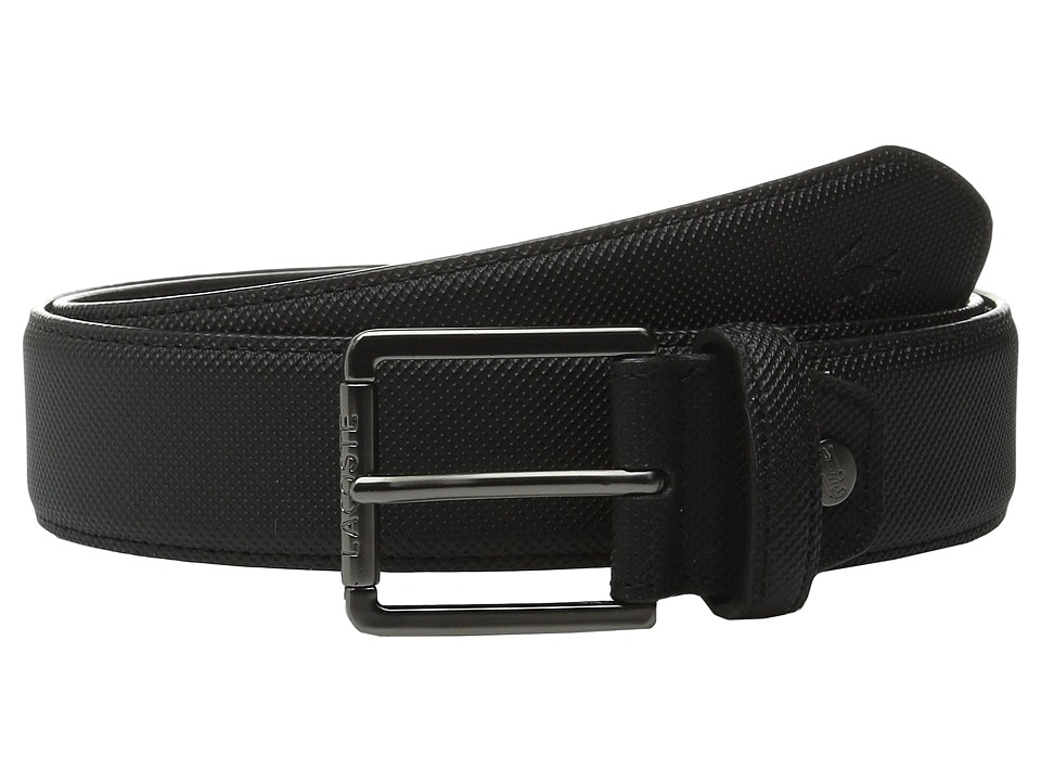 Lacoste - Premium Pique PVC Belt (Black) Men's Belts