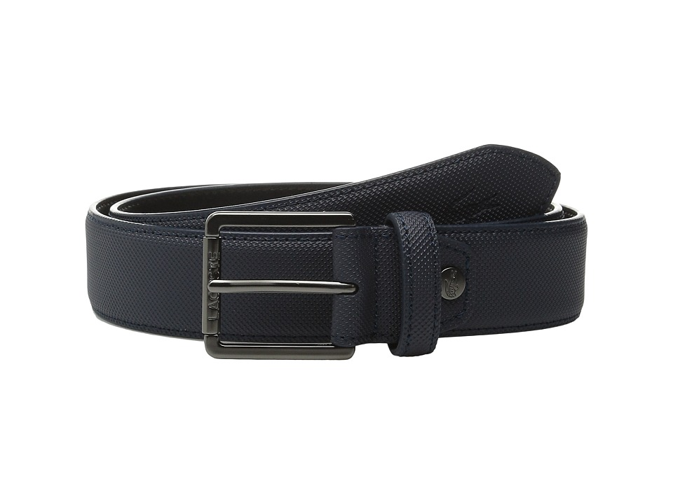 Lacoste - Premium Pique PVC Belt (Black Iris) Men's Belts
