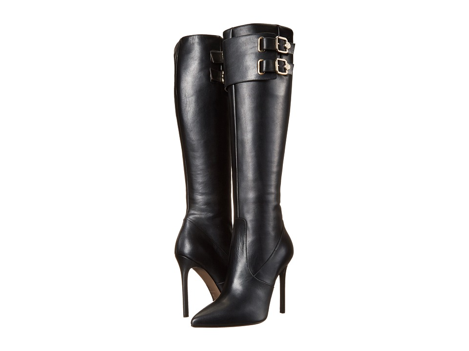 Versace Collection - Knee High 100mm Stiletto Boot (Black) Women's Zip Boots