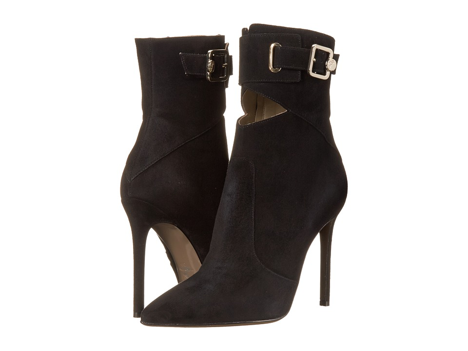 Versace Collection - Pointed Toe Peek A Boo Ankle 100mm Bootie (Black) Women