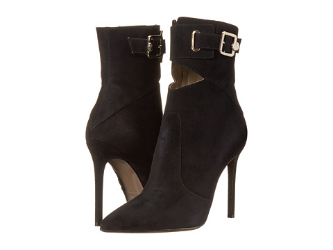 Versace Collection - Pointed Toe Peek A Boo Ankle 100mm Bootie (Black) Women's Zip Boots