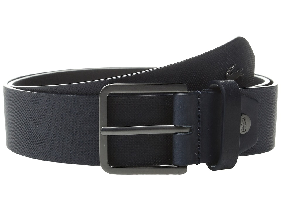 Lacoste - Sportswear Metal Croc Leather Croc (Navy) Men's Belts