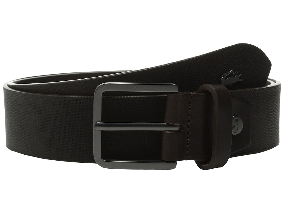 Lacoste - Sportswear Metal Croc Leather Croc (Brown) Men's Belts
