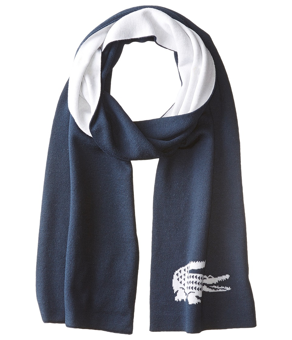 Lacoste - Large Contrast Croc Jacquard Wool Scarf (Tradewind Blue/Vanilla Plant) Scarves
