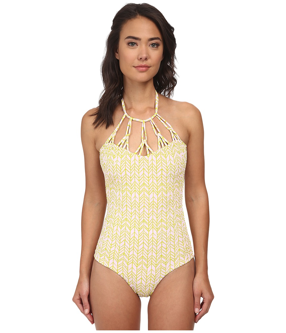 Tori Praver - Magnolia Smocked Mutli Hoop Full Piece (India Lime) Women's Swimsuits One Piece