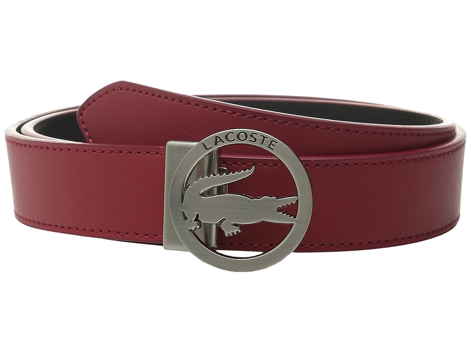 Lacoste - Premium Leather Belt Lacoste Cutout Buckle (Red) Women's Belts