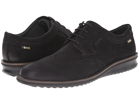 ECCO - Contoured Oxford Tie (Black) Men's Lace up casual Shoes