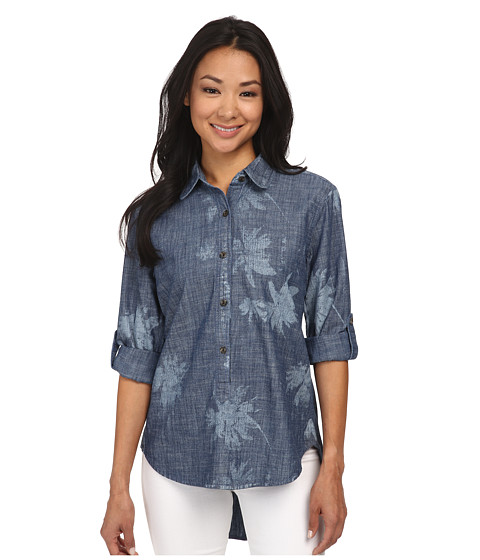 J.A.C.H.S. - Long Sleeve Button Down Tops (Indigo) Women