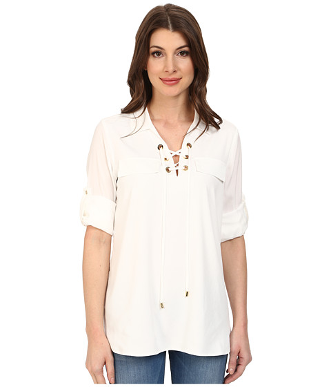Calvin Klein - Lace Up Roll Sleeve (Soft White) Women's Blouse
