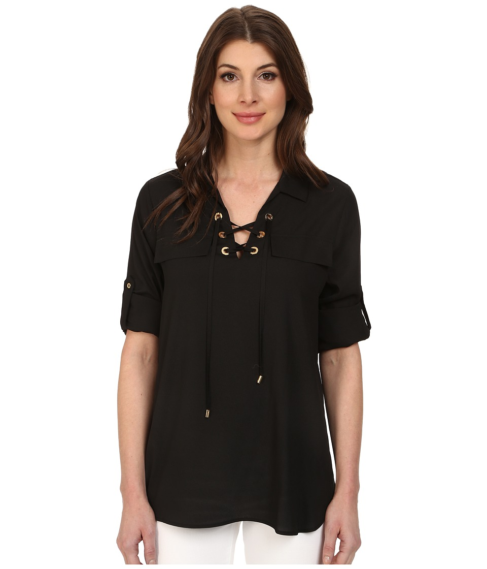 Calvin Klein - Lace Up Roll Sleeve (Black) Women's Blouse