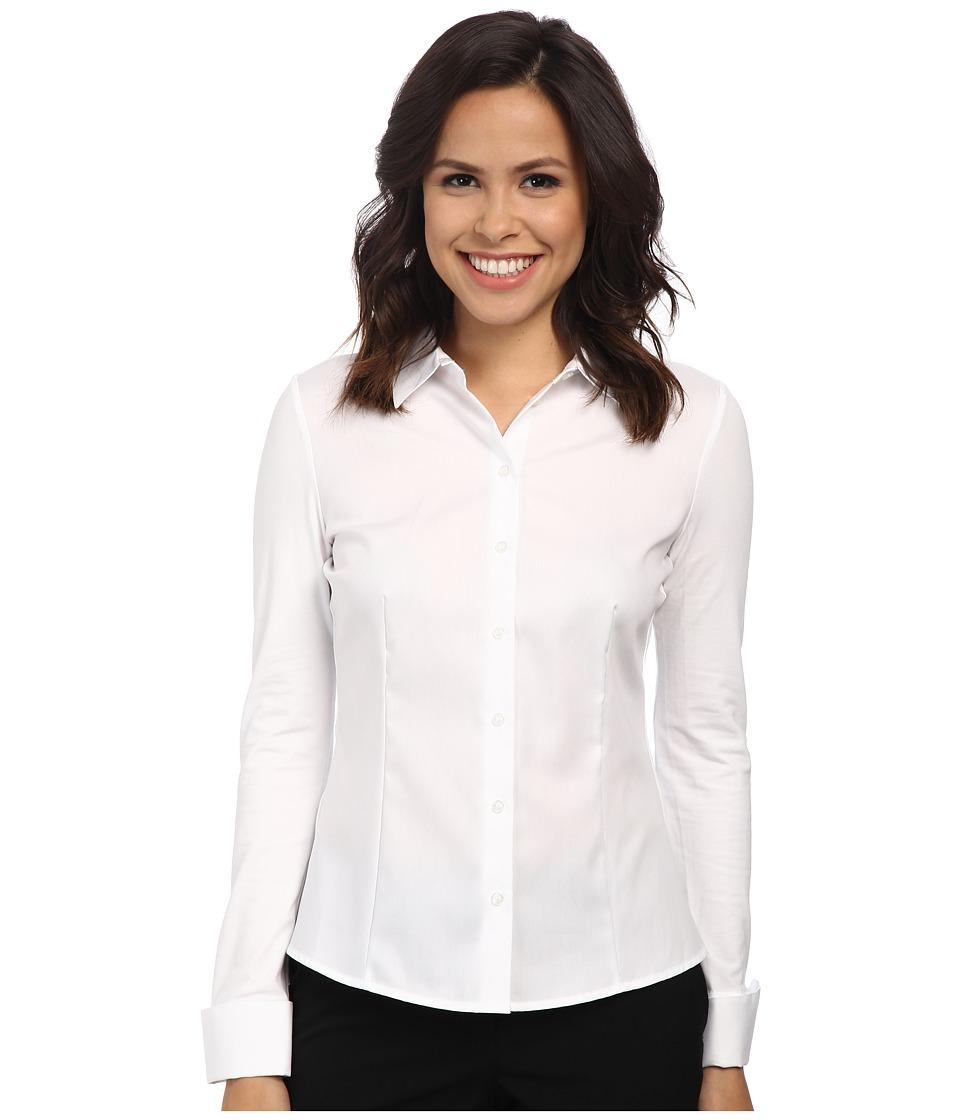 Calvin Klein - Non-Iron Knit Back Blouse (Birch) Women's Long Sleeve Button Up