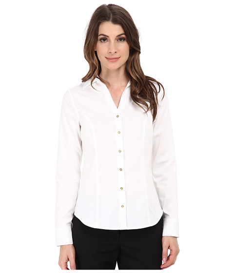 Calvin Klein - Non-Iron Knit Back Blouse (Birch) Women's Long Sleeve Button Up