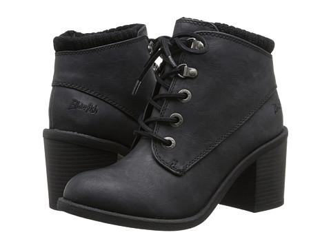 Blowfish - Misty (Black Texas PU/Knit Cuff) Women's Lace-up Boots