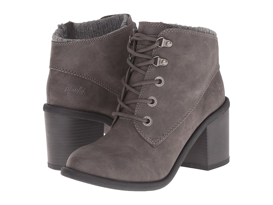 Blowfish - Misty (Grey Texas PU/Knit Cuff) Women's Lace-up Boots