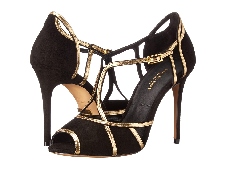 Michael Kors - Caryn (Black Kid Suede/Specchio) High Heels