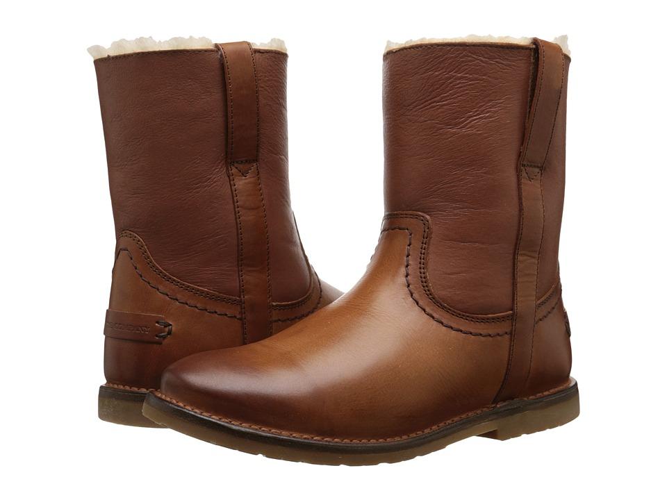 Frye - Celia Shearling Short (Cognac Smooth Full Grain) Cowboy Boots