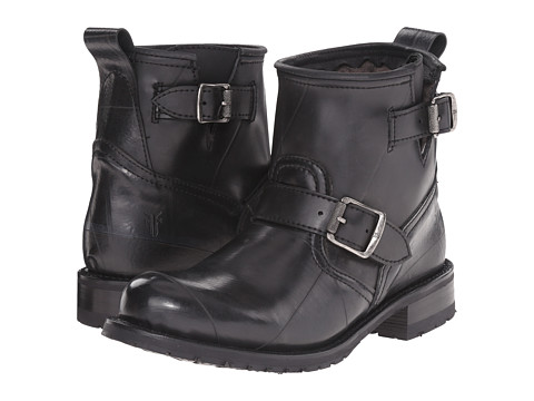 Frye - Engineer Shearling Short (Black Recycled Rubber/Shearling) Cowboy Boots