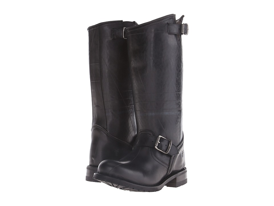 Frye - Engineer Shearling Tall (Black Recycled Rubber/Shearling) Cowboy Boots