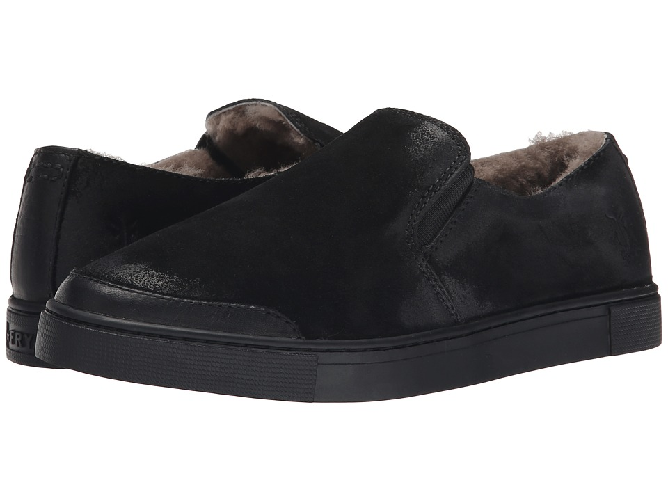 Frye Gemma Slip Shearling (Black Soft Vintage Leather/Oiled Suede) Women
