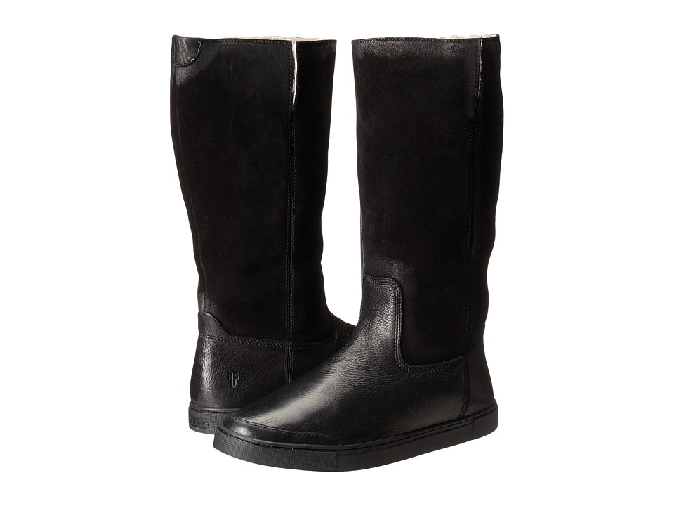 Frye Gemma Tall Shearling (Black Soft Vintage Leather/Oiled Suede) Cowboy Boots