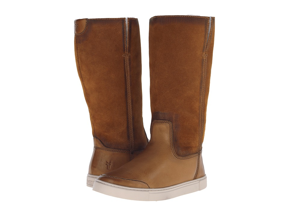 Frye Gemma Tall Shearling (Camel Soft Vintage Leather/Oiled Suede) Cowboy Boots