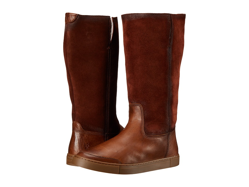 Frye - Gemma Tall Shearling (Cognac Soft Vintage Leather/Oiled Suede) Cowboy Boots