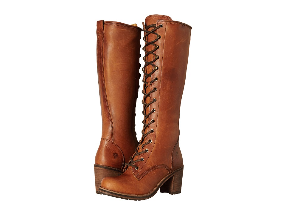 Frye - Karen Lace Up Tall (Cognac Washed Oiled Vintage) Women