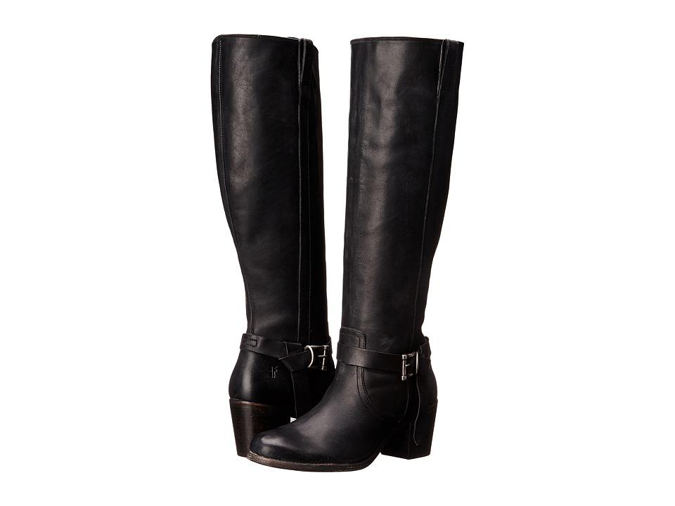 Frye Malorie Knotted Tall (Black Polished Stonewash) Cowboy Boots