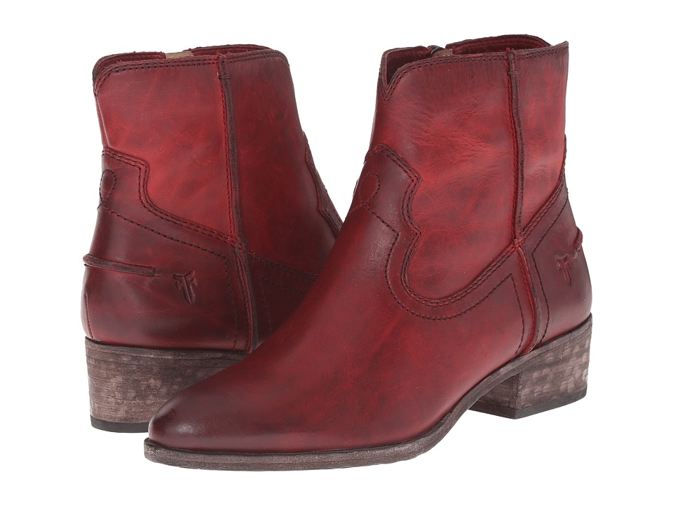 Frye Ray Seam Short (Burgundy Washed Antique Pull Up) Cowboy Boots