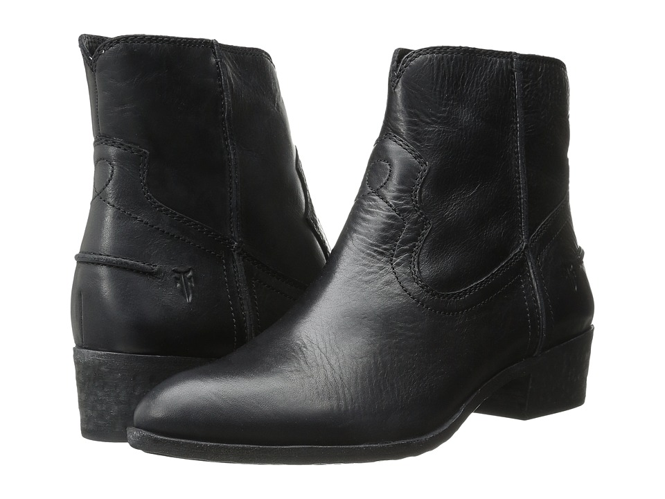 Frye Ray Seam Short Black Washed Antique Pull Up Cowboy Boots