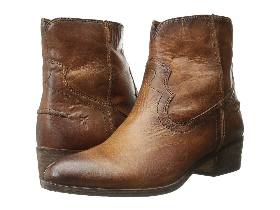 Frye Ray Seam Short (Cognac Washed Antique Pull Up) Cowboy Boots
