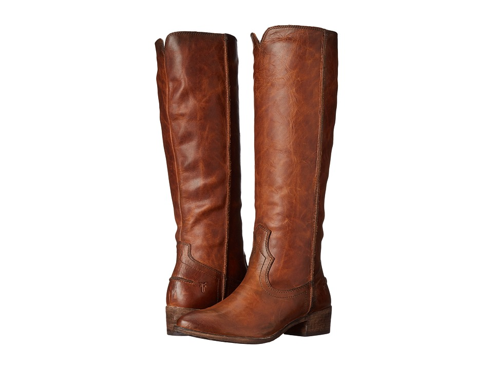 Frye Ray Seam Tall (Cognac Washed Antique Pull Up) Cowboy Boots