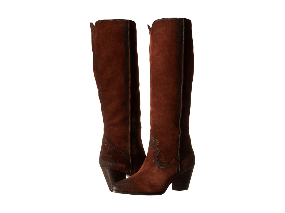 Frye - Renee Seam Tall (Brown Oiled Suede) Cowboy Boots
