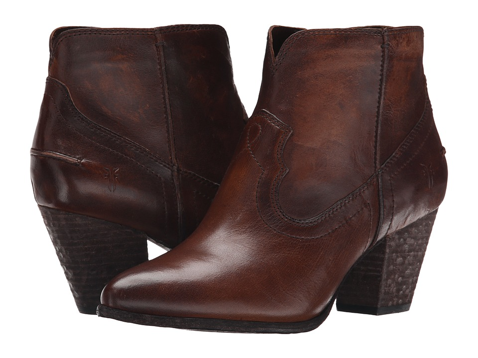 Frye - Renee Seam Short (Dark Brown Washed Antique Pull Up) Cowboy Boots