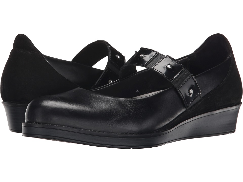 Naot Footwear - Honesty (Black Madras Leather/Shiny Black Leather/Black Patent Leather) Women
