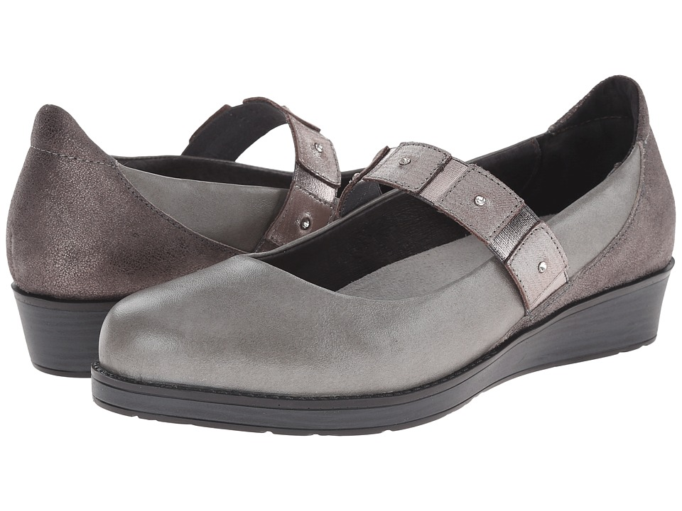 Naot Footwear - Honesty (Rainy Gray Leather/Gray Shimmer Leather/Silver Threads Leather) Women