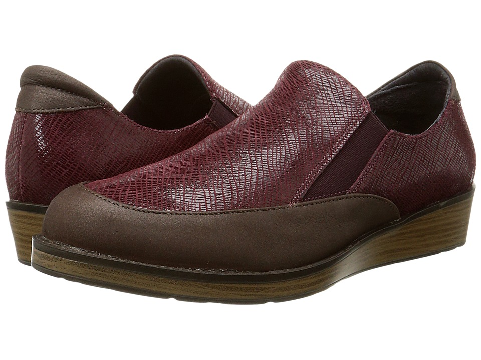Naot Footwear - Cherish (Brown Shimmer Nubuck/Reptile Burgundy Leather) Women