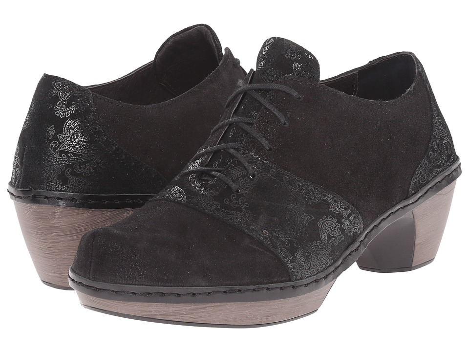 Naot Footwear - Besalu (Black Lace Nubuck/Shiny Black Leather) Women's Shoes
