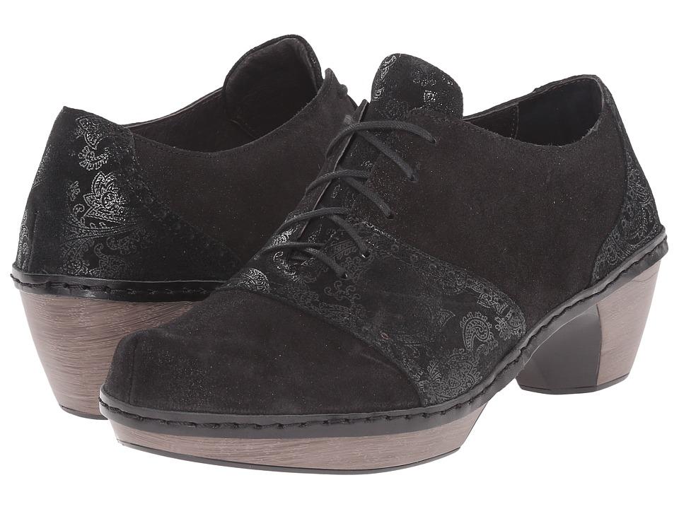 Naot Besalu (Black Lace Nubuck/Shiny Black Leather) Women