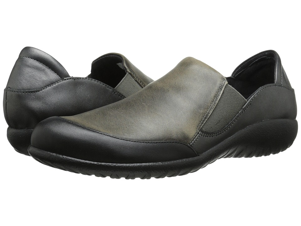 Naot Footwear - Moana (Black Raven Leather/Vintage Gray Leather/Metallic Road Leather) Women's Shoes