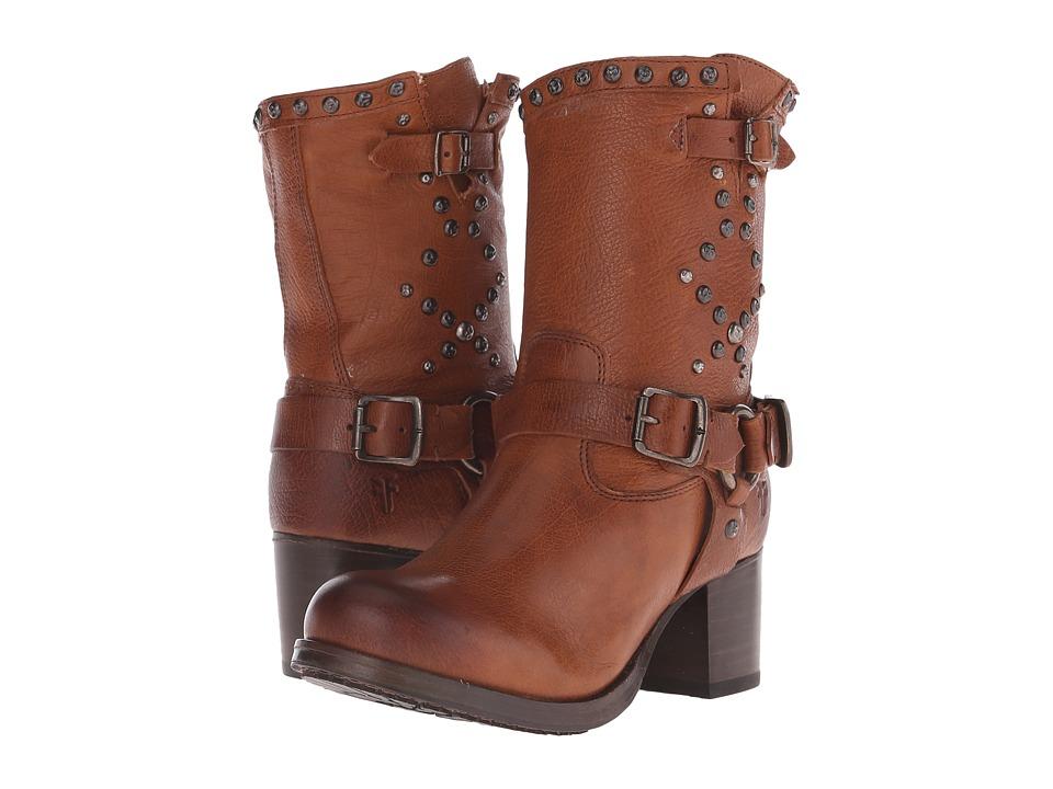 Frye Vera Stud Moto Short (Cognac Washed Antique) Cowboy Boots