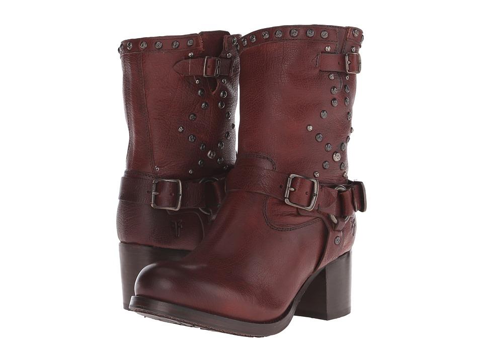 Frye - Vera Stud Moto Short (Dark Brown Washed Antique) Cowboy Boots