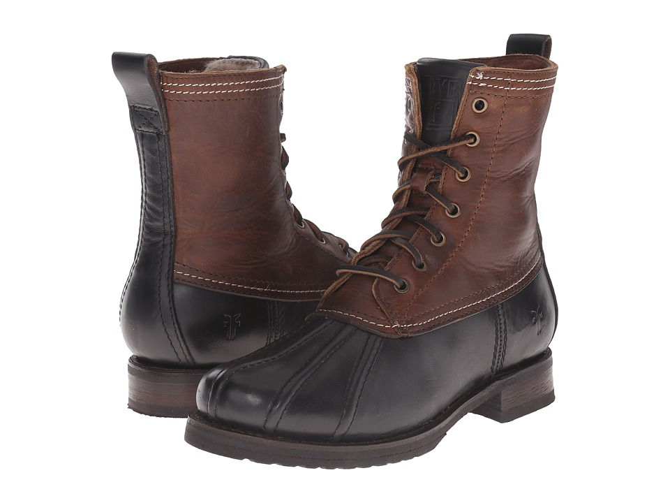 Frye - Veronica Duck Boot (Black Multi Smooth Pull Up/Oiled Vintage) Women's Lace-up Boots