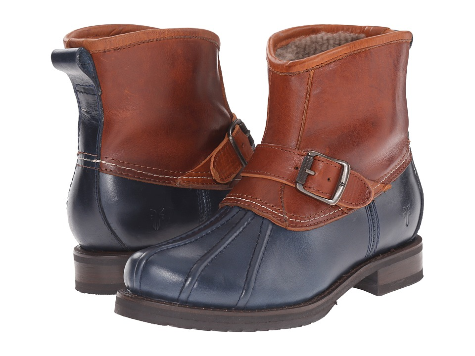 Frye - Veronica Duck Engineer (Navy Multi Smooth Pull Up/Oiled Vintage) Women's Pull-on Boots