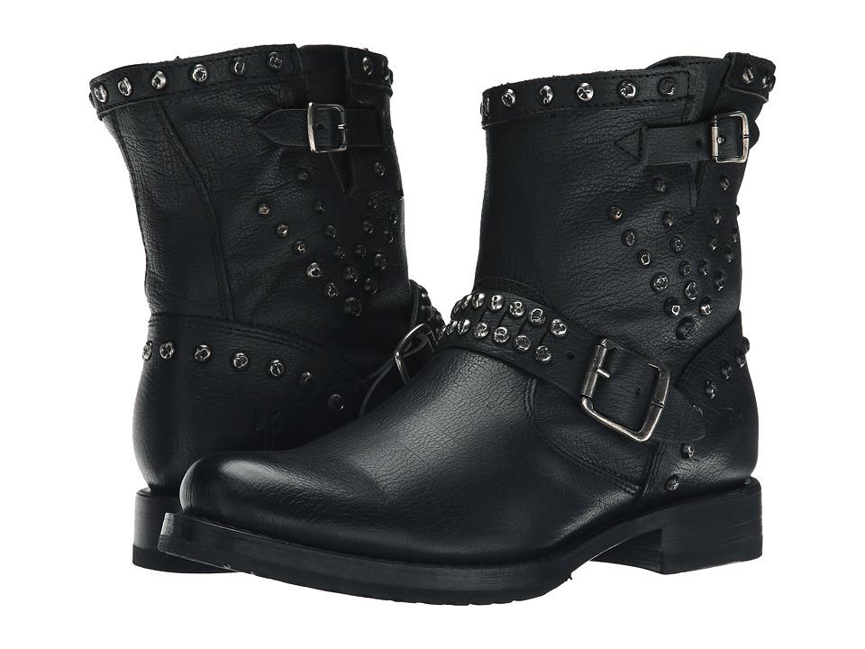 Frye - Veronica Stud Moto Short (Black Washed Antique) Cowboy Boots