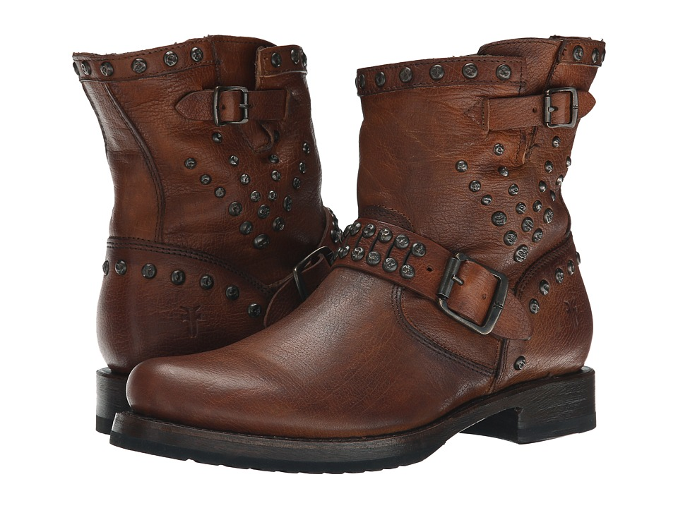 Frye - Veronica Stud Moto Short (Cognac Washed Antique) Cowboy Boots
