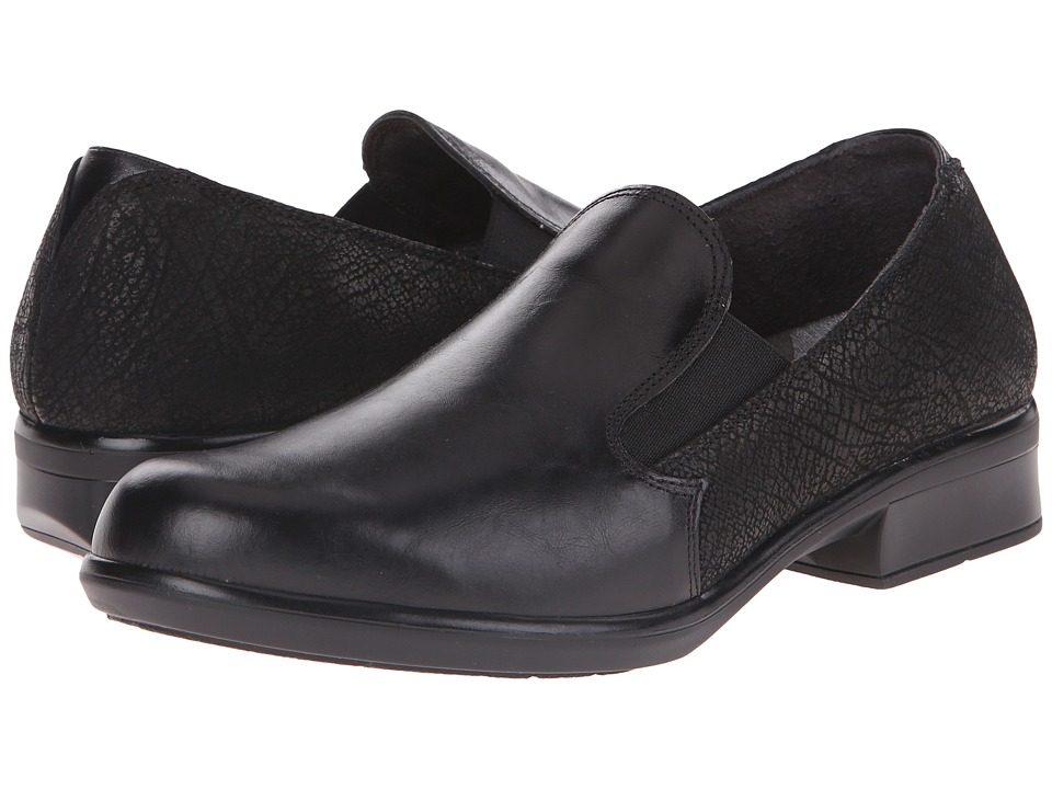 Naot Footwear Ostro (Black Madras Leather/Black Crackle Leather) Women