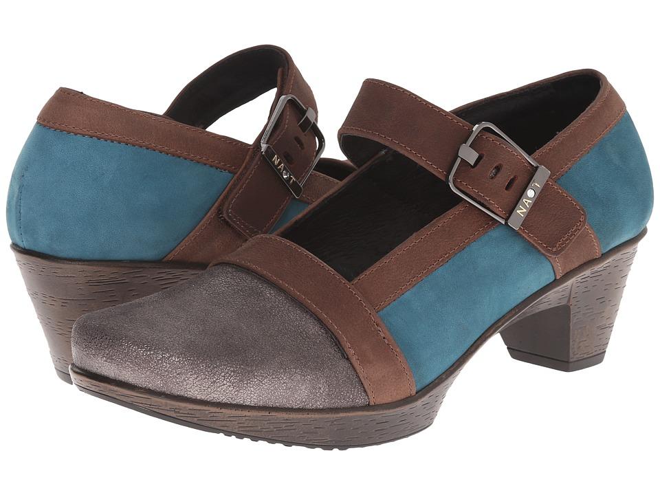 Naot Dashing (Gray Shimmer Leather/Teal Nubuck/Carob Brown Leather) Women
