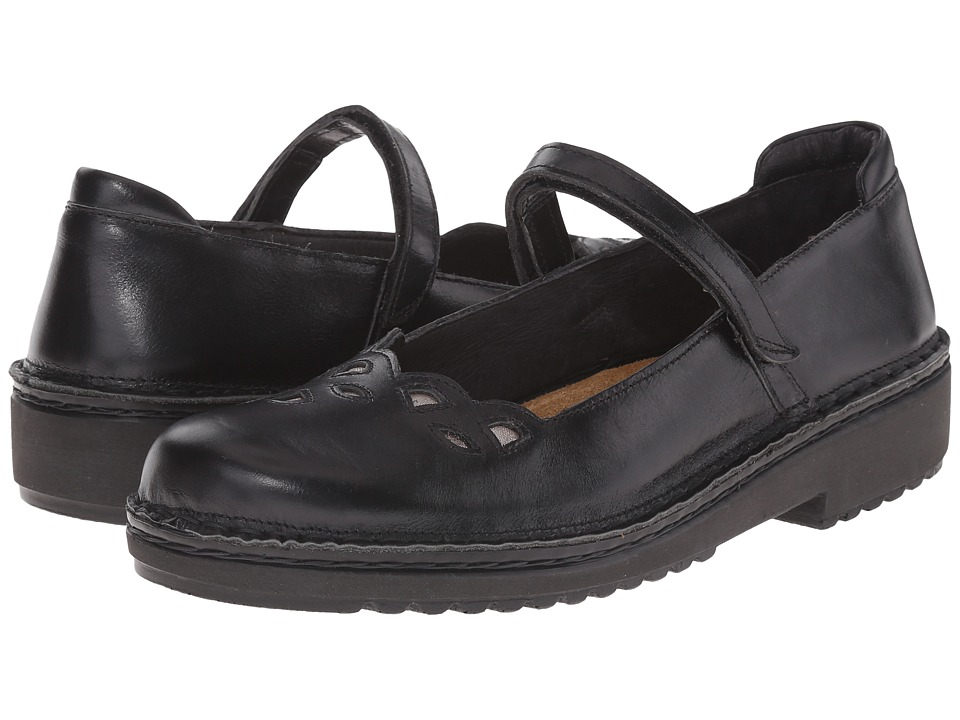 Naot Footwear Elsa (Black Madras Leather/Silver Threads Leather) Women
